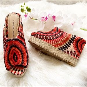 Chinese Laundry Multi Color Canvas Wedge Sandals